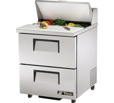 "True TSSU-27-8D-2 27"" Sandwich Unit - Holds (8) 1/6-Pans, 2-Drawers"