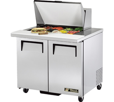 "True TSSU-36-12M-B 36"" Mega Top Sandwich Unit - Holds (12) 1/6-Pans, 2-Solid Doors"