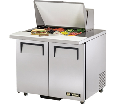 "True TSSU-36-12M-B-ADA 36"" Mega Top Sandwich Unit - Holds (12) 1/6-Pans, 2-Solid Doors, ADA"