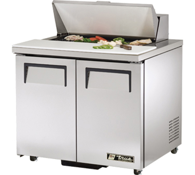 "True TSSU-36-8-ADA 36"" Sandwich Unit - Holds (8) 1/6-Pans, 2-Solid Doors, ADA"