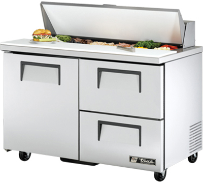 "True TSSU-48-12D-2 48"" Sandwich Unit - Holds (12) 1/6-Pans, 1-Door, 2-Drawers"