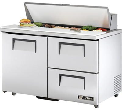 "True TSSU-48-12D-2-ADA 48"" Sandwich Unit - Holds (12) 1/6-Pans, 1-Door, 2-Drawers, ADA"