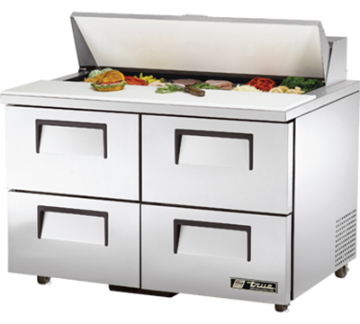 "True TSSU-48-12D-4 48"" Sandwich Unit - Holds (12) 1/6-Pans, 4-Drawers"