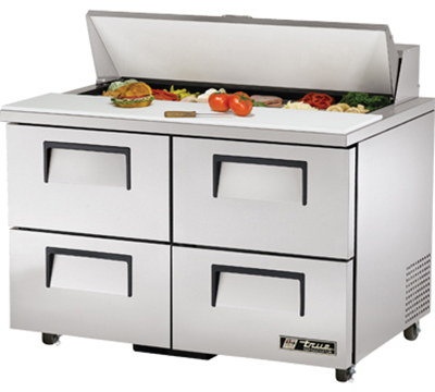"True TSSU-48-12D-4ADA 48"" Sandwich Unit - Holds (12) 1/6-Pans, 4-Drawers, ADA"
