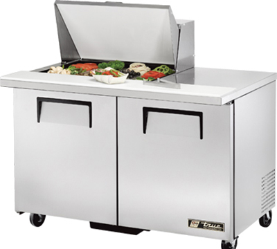"True TSSU-48-12M-B 48"" Mega Top Sandwich Unit - Holds (12) 1/6-Pans, 2-Doors"