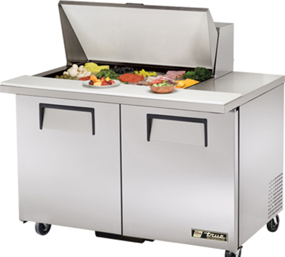 "True TSSU-48-15M-B 48"" Mega Top Sandwich Unit - Holds (15) 1/6-Pans, 2-Doors"
