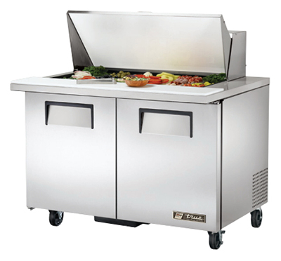 "True TSSU-48-18M-B 48"" Mega Top Sandwich Unit - Holds (18) 1/6-Pans, 2-Doors"