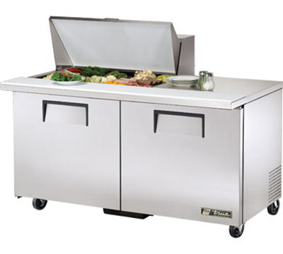 "True TSSU-60-15M-B 60"" Mega Top Sandwich Unit - Holds (15) 1/6-Pans, 2-Doors"