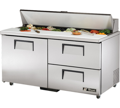 "True TSSU-60-16D-2-ADA 60"" Sandwich Unit - Holds (16) 1/6-Pans, 1-Door, 2-Drawers, ADA"