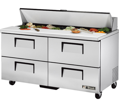 "True TSSU-60-16D-4 60"" Sandwich Unit - Holds (16) 1/6-Pans, 4-Drawers"