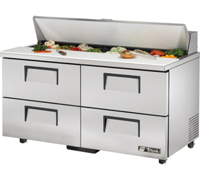 "True TSSU-60-16D-4-ADA 60"" Sandwich Unit - Holds (16) 1/6-Pans, 4-Drawers, ADA"