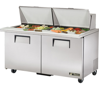 "True TSSU-60-24M-B-ST 60"" Mega Top Sandwich Unit - Holds (24) 1/6-Pans, 2-Doors"