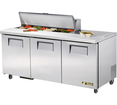 "True TSSU-72-12 72"" Sandwich Unit - Holds (12) 1/6-Pans, 3-Doors"