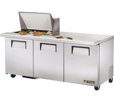 "True TSSU-72-12M-B 72"" Mega Top Sandwich Unit - Holds (12) 1/6-Pans, 3-Doors"