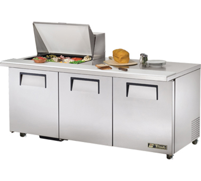 "True TSSU-72-12M-B-ADA 72"" Mega Top Sandwich Unit - Holds (12) 1/6-Pans, 3-Doors, ADA"