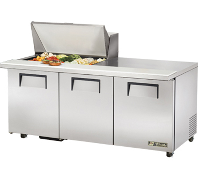 "True TSSU-72-15M-B-ADA 72"" Mega Top Sandwich Unit - Holds (15) 1/6-Pans, 3-Doors, ADA"