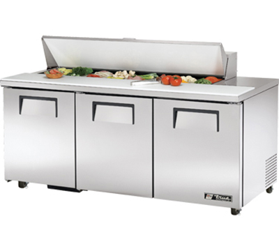 "True TSSU-72-16-ADA 72"" Sandwich Unit - Holds (16) 1/6-Pans, 3-Doors, ADA"