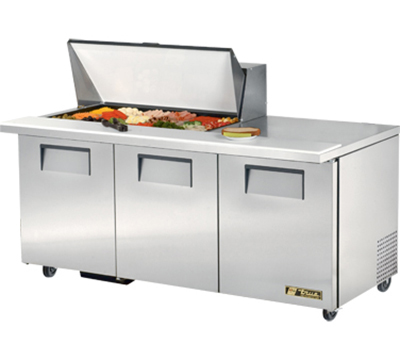 "True TSSU-72-18M-B 72"" Mega Top Sandwich Unit - Holds (18) 1/6-Pans, 3-Doors"