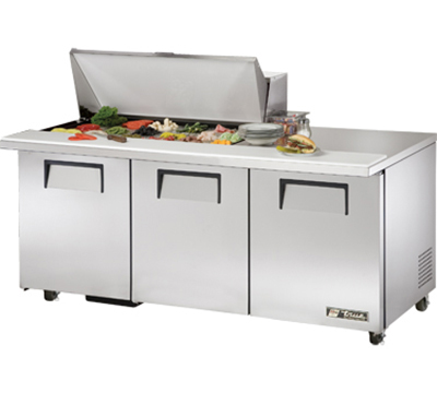 "True TSSU-72-18M-B-ADA 72"" Mega Top Sandwich Unit - Holds (18) 1/6-Pans, 3-Doors, ADA"