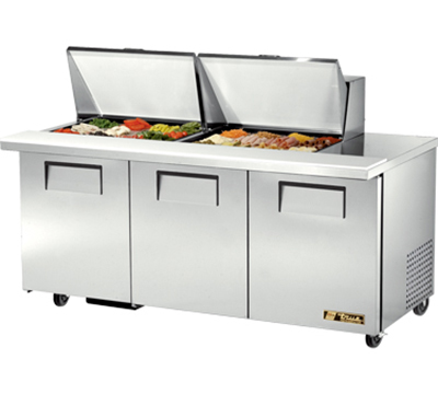 "True TSSU-72-24M-B-ST 72.38"" Sandwich/Salad Prep Table w/ Refrigerated Base, 115v"