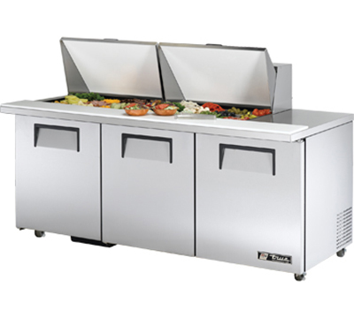 "True TSSU7224MBSTADA 72"" Mega Top Sandwich Unit - Holds (24) 1/6-Pans, 3-Doors, ADA"