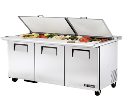 "True TSSU-72-30MBDSST 72"" Dual Side Mega Top Sandwich Unit - Holds (30) 1/6-Pans, 3-Doors"