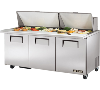 "True TSSU-72-30M-B-ST 72.38"" Sandwich/Salad Prep Table w/ Refrigerated Base, 115v"