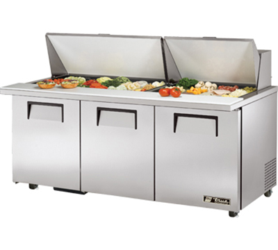 "True TSSU-7230MBSTADA 72"" Mega Top Sandwich Unit - Holds (30) 1/6-Pans, 3-Doors, ADA"