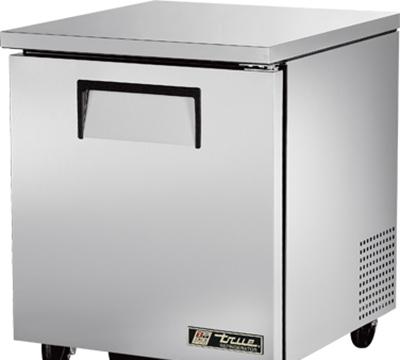 """True TUC-27 27"""" Undercounter Refrigerator - 1-Solid Door, Aluminum/Stainless"""