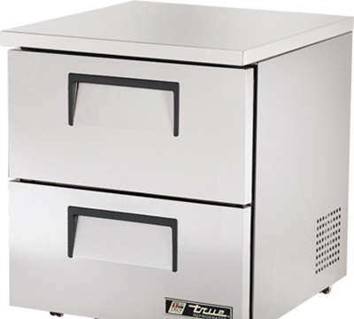 "True TUC-27D-2-LP 27"" Low Profile Undercounter Refrigerator - 2-Drawers, Aluminum/Stainless"