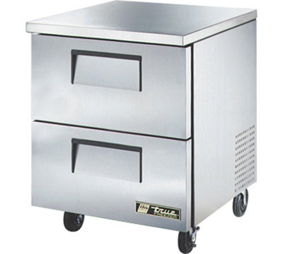 "True TUC-27F-D-2 27"" Undercounter Freezer - 2-Drawers, Aluminum/Stainless"