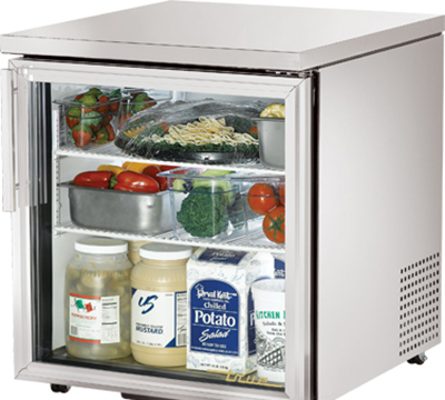 "True TUC-27G-LP 27"" Low Profile Undercounter Refrigerator - 1-Glass Door, Aluminum/Stainless"