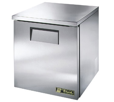 "True TUC-27-LP 27"" Low Profile Undercounter Refrigerator - 1-Solid Door, Aluminum/Stainless"