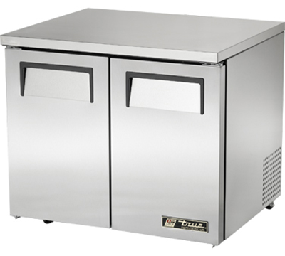 "True TUC-36-LP 36"" Low Profile Undercounter Refrigerator - 2-Solid Doors, Aluminum/Stainless"
