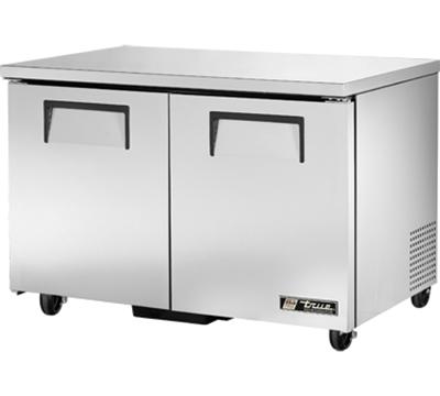 """True TUC-48 48"""" Undercounter Refrigerator - 2-Solid Doors, Aluminum/Stainless"""
