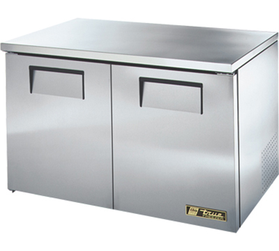 "True TUC-48F-LP 48"" Low Profile Undercounter Freezer - 2-Solid Doors, Aluminum/Stainless"