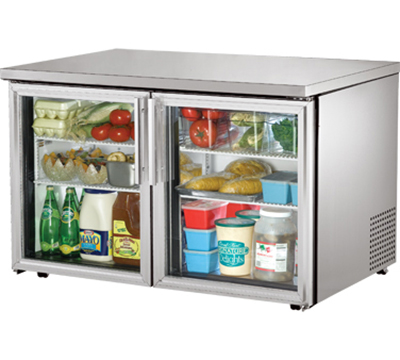 "True TUC-48G-LP 48"" Low Profile Undercounter Refrigerator - 2-Glass Doors, Aluminum/Stainless"