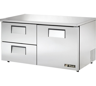 "True TUC-60D-2-LP 60"" Low Profile Undercounter Refrigerator - 1-Door, 2-Drawers, Aluminum/Stainless"
