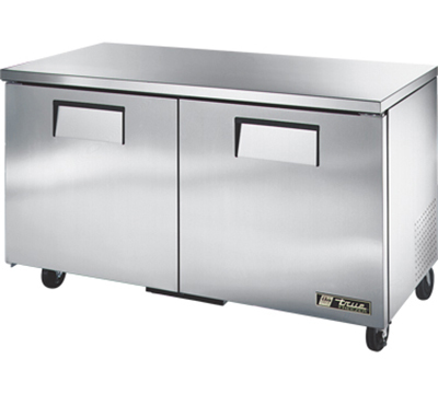 "True TUC-60F 60"" Undercounter Freezer - 2-Solid Doors, Aluminum/Stainless"