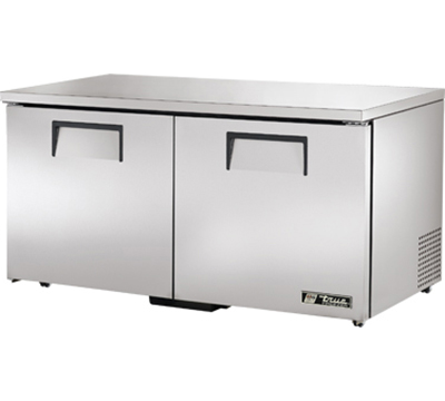 "True TUC-60F-LP 60"" Low Profile Undercounter Freezer - 2-Solid Doors, Aluminum/Stainless"