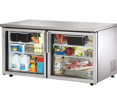 "True TUC-60G-LP 60"" Low Profile Undercounter Refrigerator - 2-Glass Doors, Aluminum/Stainless"