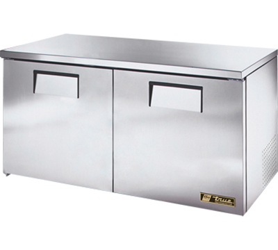 "True TUC-60-LP 60"" Low Profile Undercounter Refrigerator - 2-Solid Doors, Aluminum/Stainless"