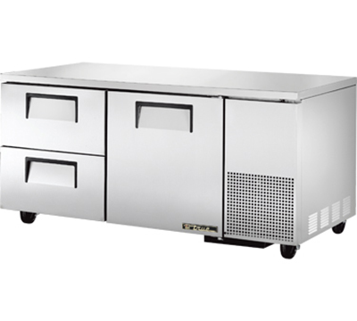 "True TUC-67D-2 67"" Deep Undercounter Refrigerator - 2-Drawers, Aluminum/Stainless"
