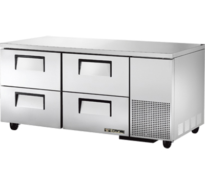 True TUC-67D-4 20.6-cu ft Undercounter Refrigerator w/ (2) Sections & (4) Drawers, 115v