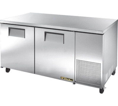 "True TUC-67F 67"" Deep Undercounter Freezer - 2-Solid Doors, Aluminum/Stainless"