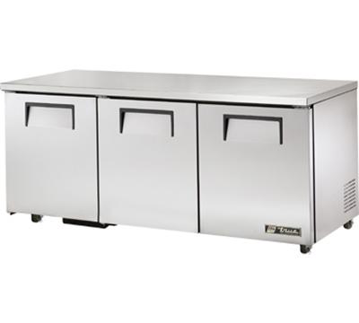 """True TUC-72-ADA 72"""" Undercounter Refrigerator - 3-Solid Doors, Aluminum/Stainless, ADA"""