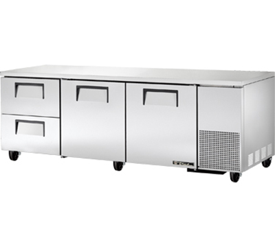 "True TUC-93D-2 93"" Deep Undercounter Refrigerator - 2-Doors, 2-Drawers, Aluminum/Stainless"
