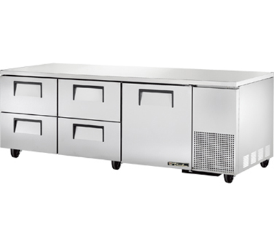 "True TUC-93D-4 93"" Deep Undercounter Refrigerator - 1-Door, 4-Drawers, Aluminum/Stainless"