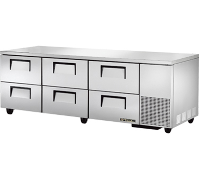 "True TUC-93D-6 93"" Deep Undercounter Refrigerator - 6-Drawers, Aluminum/Stainless"