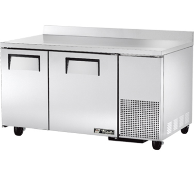 "True TWT-60-32F 60"" Deep Work Top Freezer - 2-Solid Doors, Aluminum/Stainless"